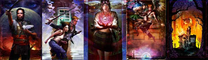 Image strip of 5 of Scott's bookcovers